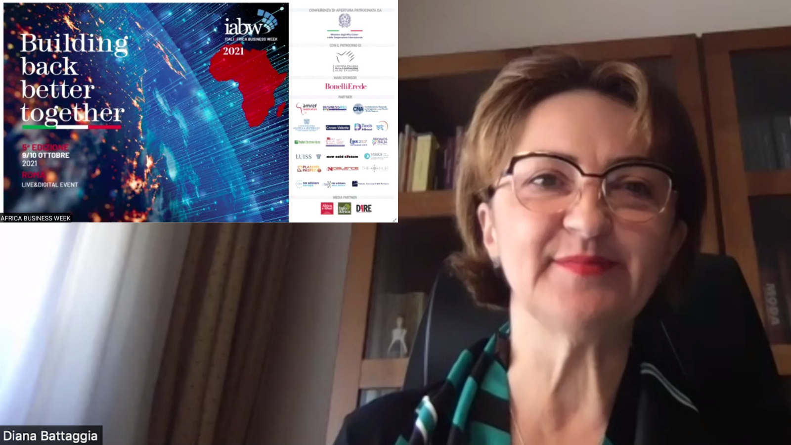 UNIDO ITPO Italy Head Ms. Diana Battaggia at the Italia Africa Business Week 2021