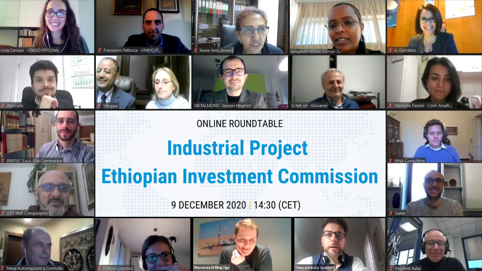 "Online Roundtable ""Industrial Project – Ethiopian Investment Commission"""