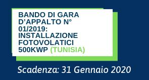 BANDO DI GARA D'APPALTO N° 01/2019 - PV Installation of 500kWp - (TUNISIA)